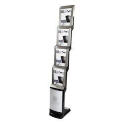 formato verticale Espositore pieghevole 6 x A4 in alluminio//acrilico Espositore da terra Custodia in alluminio inclusa Espositore pieghevole in argento
