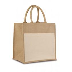Borsa shopping in iuta con manici corti imbottiti personalizzata